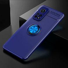 Funda Silicona Carcasa Ultrafina Goma con Magnetico Anillo de dedo Soporte A01 para Xiaomi Mi 10T Pro 5G Azul