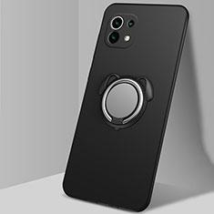 Funda Silicona Carcasa Ultrafina Goma con Magnetico Anillo de dedo Soporte A01 para Xiaomi Mi 11 5G Negro