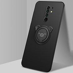 Funda Silicona Carcasa Ultrafina Goma con Magnetico Anillo de dedo Soporte A01 para Xiaomi Redmi 9 Prime India Negro