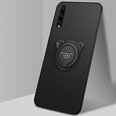 Funda Silicona Carcasa Ultrafina Goma con Magnetico Anillo de dedo Soporte A02 para Huawei Enjoy 10S Negro