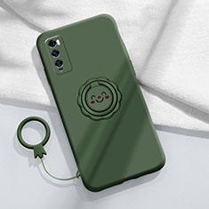Funda Silicona Carcasa Ultrafina Goma con Magnetico Anillo de dedo Soporte A02 para Huawei Enjoy 20 Pro 5G Verde
