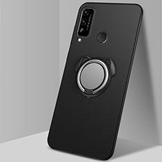 Funda Silicona Carcasa Ultrafina Goma con Magnetico Anillo de dedo Soporte A02 para Huawei Honor Play4T Negro