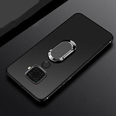 Funda Silicona Carcasa Ultrafina Goma con Magnetico Anillo de dedo Soporte A02 para Huawei Mate 30 Lite Negro