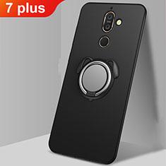 Funda Silicona Carcasa Ultrafina Goma con Magnetico Anillo de dedo Soporte A02 para Nokia 7 Plus Negro