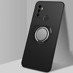 Funda Silicona Carcasa Ultrafina Goma con Magnetico Anillo de dedo Soporte A02 para Oppo A53s Negro