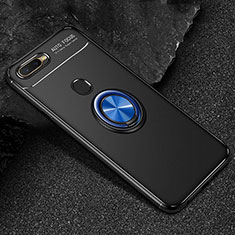 Funda Silicona Carcasa Ultrafina Goma con Magnetico Anillo de dedo Soporte A02 para Oppo A7 Azul y Negro