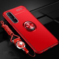 Funda Silicona Carcasa Ultrafina Goma con Magnetico Anillo de dedo Soporte A02 para Oppo Find X2 Neo Rojo