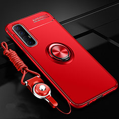 Funda Silicona Carcasa Ultrafina Goma con Magnetico Anillo de dedo Soporte A02 para Oppo Reno3 Pro Rojo