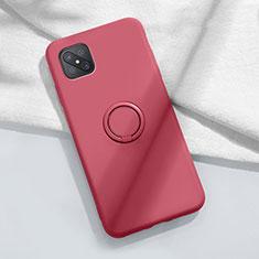 Funda Silicona Carcasa Ultrafina Goma con Magnetico Anillo de dedo Soporte A02 para Oppo Reno4 Z 5G Rojo Rosa