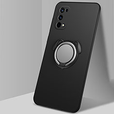 Funda Silicona Carcasa Ultrafina Goma con Magnetico Anillo de dedo Soporte A02 para Realme Q2 Pro 5G Negro