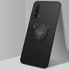 Funda Silicona Carcasa Ultrafina Goma con Magnetico Anillo de dedo Soporte A02 para Realme X3 SuperZoom Negro