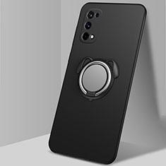 Funda Silicona Carcasa Ultrafina Goma con Magnetico Anillo de dedo Soporte A02 para Realme X7 Pro 5G Negro