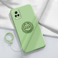 Funda Silicona Carcasa Ultrafina Goma con Magnetico Anillo de dedo Soporte A02 para Vivo V20 Pro 5G Menta Verde