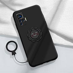Funda Silicona Carcasa Ultrafina Goma con Magnetico Anillo de dedo Soporte A02 para Vivo X51 5G Negro