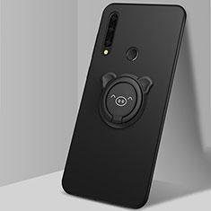 Funda Silicona Carcasa Ultrafina Goma con Magnetico Anillo de dedo Soporte A03 para Huawei Enjoy 10 Plus Negro