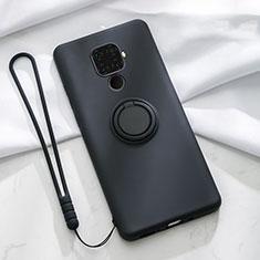 Funda Silicona Carcasa Ultrafina Goma con Magnetico Anillo de dedo Soporte A03 para Huawei Mate 30 Lite Negro