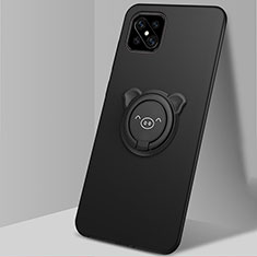 Funda Silicona Carcasa Ultrafina Goma con Magnetico Anillo de dedo Soporte A03 para Oppo A92s 5G Negro