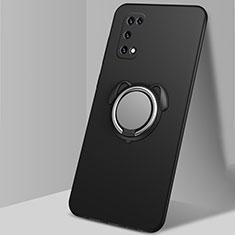 Funda Silicona Carcasa Ultrafina Goma con Magnetico Anillo de dedo Soporte A03 para Oppo K7x 5G Negro