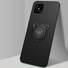 Funda Silicona Carcasa Ultrafina Goma con Magnetico Anillo de dedo Soporte A03 para Oppo Reno4 Z 5G Negro