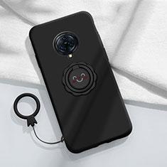 Funda Silicona Carcasa Ultrafina Goma con Magnetico Anillo de dedo Soporte A04 para Vivo Nex 3 Negro