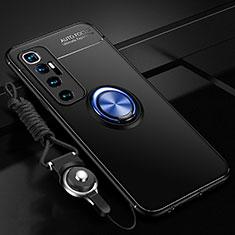 Funda Silicona Carcasa Ultrafina Goma con Magnetico Anillo de dedo Soporte A04 para Xiaomi Mi 10 Ultra Azul y Negro