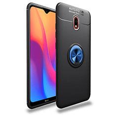 Funda Silicona Carcasa Ultrafina Goma con Magnetico Anillo de dedo Soporte A04 para Xiaomi Redmi 8A Azul y Negro