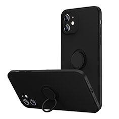 Funda Silicona Carcasa Ultrafina Goma con Magnetico Anillo de dedo Soporte N01 para Apple iPhone 12 Negro