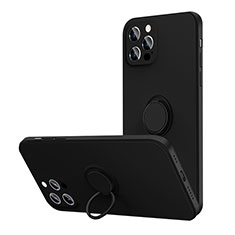 Funda Silicona Carcasa Ultrafina Goma con Magnetico Anillo de dedo Soporte N01 para Apple iPhone 12 Pro Max Negro