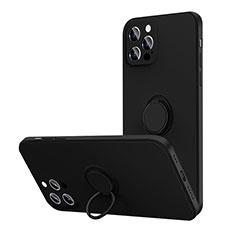 Funda Silicona Carcasa Ultrafina Goma con Magnetico Anillo de dedo Soporte N01 para Apple iPhone 12 Pro Negro