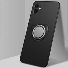 Funda Silicona Carcasa Ultrafina Goma con Magnetico Anillo de dedo Soporte N02 para Apple iPhone 12 Mini Negro