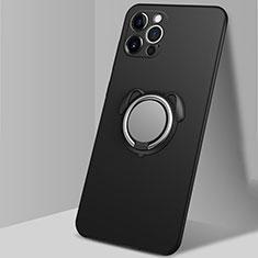 Funda Silicona Carcasa Ultrafina Goma con Magnetico Anillo de dedo Soporte N02 para Apple iPhone 12 Pro Max Negro