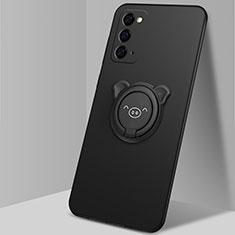 Funda Silicona Carcasa Ultrafina Goma con Magnetico Anillo de dedo Soporte N02 para Samsung Galaxy Note 20 5G Negro