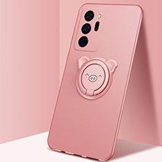 Funda Silicona Carcasa Ultrafina Goma con Magnetico Anillo de dedo Soporte N02 para Samsung Galaxy Note 20 Ultra 5G Oro Rosa