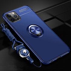 Funda Silicona Carcasa Ultrafina Goma con Magnetico Anillo de dedo Soporte N03 para Apple iPhone 12 Pro Azul