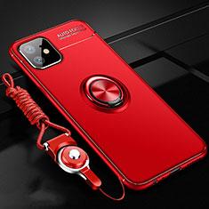Funda Silicona Carcasa Ultrafina Goma con Magnetico Anillo de dedo Soporte N03 para Apple iPhone 12 Rojo