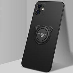 Funda Silicona Carcasa Ultrafina Goma con Magnetico Anillo de dedo Soporte N04 para Apple iPhone 12 Negro