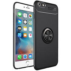 Funda Silicona Carcasa Ultrafina Goma con Magnetico Anillo de dedo Soporte para Apple iPhone 6S Plus Negro