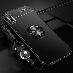 Funda Silicona Carcasa Ultrafina Goma con Magnetico Anillo de dedo Soporte para Huawei Enjoy 10 Negro