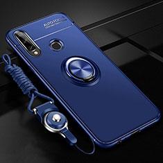 Funda Silicona Carcasa Ultrafina Goma con Magnetico Anillo de dedo Soporte para Huawei Enjoy 10 Plus Azul