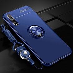 Funda Silicona Carcasa Ultrafina Goma con Magnetico Anillo de dedo Soporte para Huawei Enjoy 10S Azul
