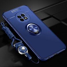 Funda Silicona Carcasa Ultrafina Goma con Magnetico Anillo de dedo Soporte para Huawei Enjoy 20 Plus 5G Azul
