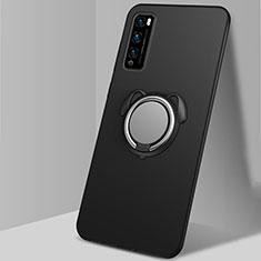 Funda Silicona Carcasa Ultrafina Goma con Magnetico Anillo de dedo Soporte para Huawei Enjoy 20 Pro 5G Negro