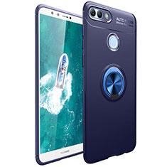Funda Silicona Carcasa Ultrafina Goma con Magnetico Anillo de dedo Soporte para Huawei Enjoy 8 Plus Azul