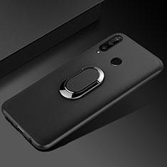 Funda Silicona Carcasa Ultrafina Goma con Magnetico Anillo de dedo Soporte para Huawei Honor 20 Lite Negro
