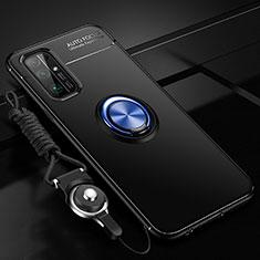 Funda Silicona Carcasa Ultrafina Goma con Magnetico Anillo de dedo Soporte para Huawei Honor 30 Azul y Negro