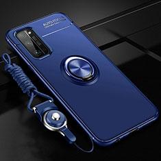 Funda Silicona Carcasa Ultrafina Goma con Magnetico Anillo de dedo Soporte para Huawei Honor 30 Pro Azul