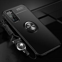 Funda Silicona Carcasa Ultrafina Goma con Magnetico Anillo de dedo Soporte para Huawei Honor 30 Pro Negro