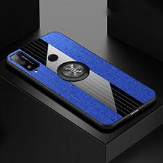 Funda Silicona Carcasa Ultrafina Goma con Magnetico Anillo de dedo Soporte para Huawei Honor Play4T Azul