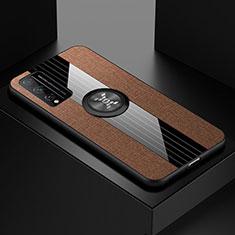 Funda Silicona Carcasa Ultrafina Goma con Magnetico Anillo de dedo Soporte para Huawei Honor Play4T Pro Marron