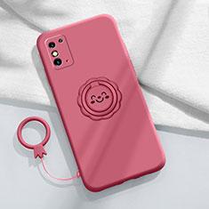 Funda Silicona Carcasa Ultrafina Goma con Magnetico Anillo de dedo Soporte para Huawei Honor X10 Max 5G Rojo Rosa